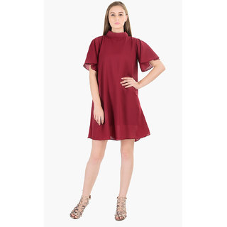 4fa026083046c Buy Bradshaw Blogs berry red trapeze dress Online   ₹2099 from ShopClues