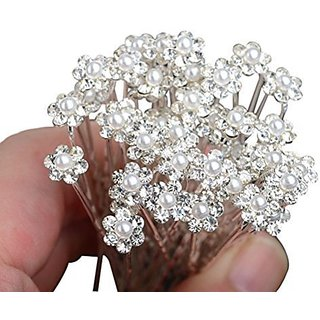 WINOMO 10pcs Bridal Flower Pearl Rhinestone Hairpins Hair Clips (White + Silver )