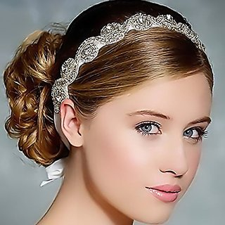 Luxury Handmade Crystals Beads with White Satin Ribbon Tie Wedding Bridal Fashion Headband Hair Accessory