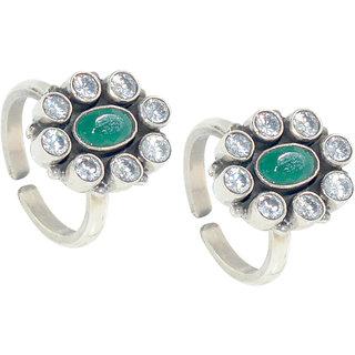 Kataria Jewellers Designer Green Stone 92.5 BIS Hallmarked Silver Toe Ring