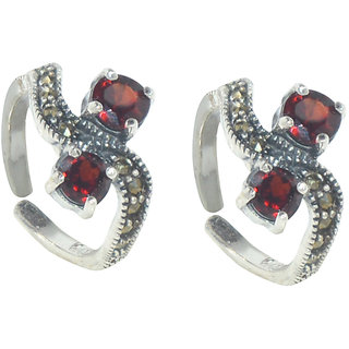 Kataria Jewellers Antique Red Stone 92.5 BIS Hallmarked Silver Toe Ring