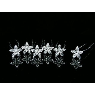 Set of 6 Rhinestone Crystal Flower Bridal Weddng Hair Pins 2115