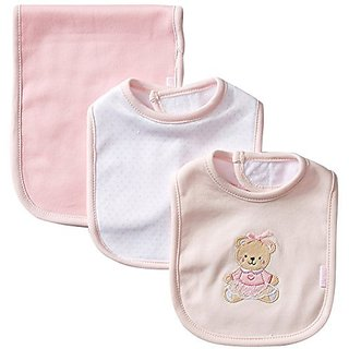 Little Me Baby Girls 3 Piece Bib and Burp Set, Bear, Pink/Multi, One Size