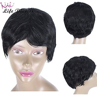 Life Diaries Cut Short Brazilian Human Hair Wig Natural Color Natural Wave Curly Glueless Wig For Women