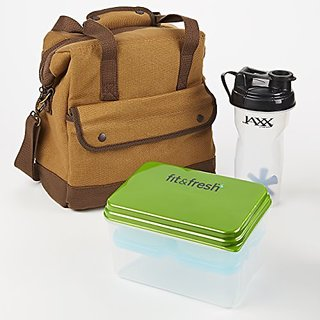 Fit & Fresh Mens Douglas Lunch Bag Kit with Lunch on the Go and Jaxx Shaker Cup (Brown)
