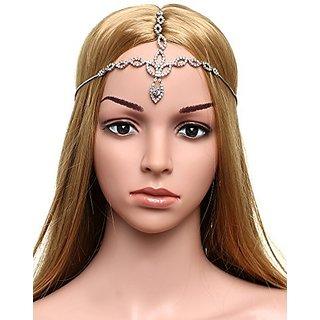 Babeyond Womens Forehead Chain Bridal Wedding Chain Headpiece Head Chain Silver Bridal Hair Accessories Crystal