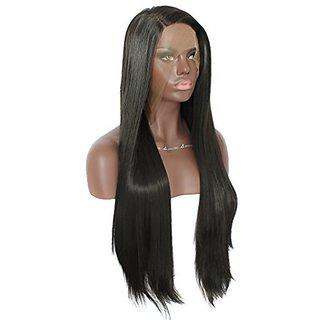 Anogol Hair Cap+24 Natural Black 1B Lace Front Wig for Black Women Glueless Brazilian Hair Long Straight Wigs Heat Resis