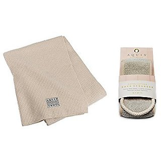 Aquis 29x55 Inch White Waffle Body Towel and 4x30.75 Inch Linen Exfoliating Back Scrubber