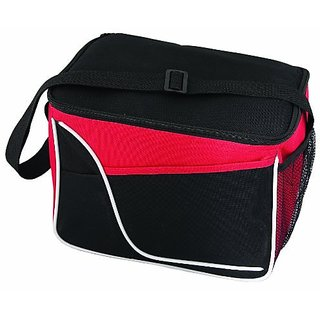 Large Two-Tone 12 Can Insulated Lunch Bag Cooler Durable Nylon, Black with Red and White Accents by BAGS FOR LESSTM