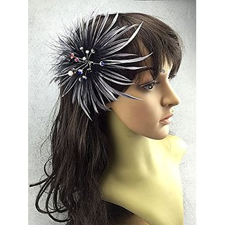 Fascinator Peacock Feather Headdress Wedding Hair Clip with Rhinestones (Silver)