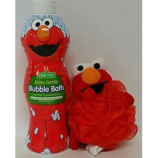 Sesame Street Elmo Bubble Bath 24oz with character bath scrunchie