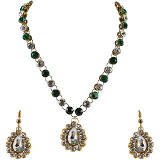 Vidhya Kangan Green,White Necklace Set For Women-nec748