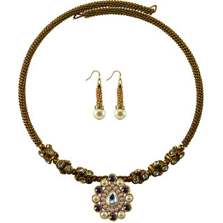 Vidhya Kangan Gold Necklace Set For Women-nec1851