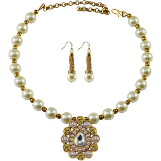 Vidhya Kangan White Necklace Set For Women-nec1987