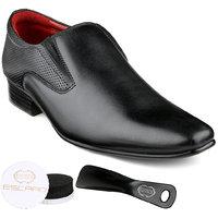 Escaro Men's Black Slip On Smart Formals Shoe