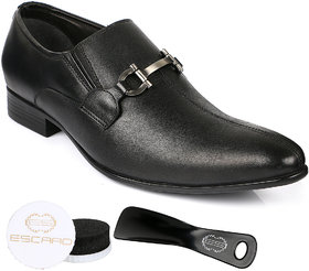 Escaro Men's Black Slip On Sneakers Shoes
