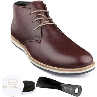Escaro Men's Wine Lace-up Sneakers Shoes