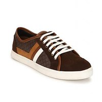 Escaro Men's Brown Lace-up Sneakers Shoes