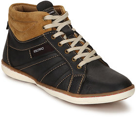 Escaro Men's Black Lace-up Smart Casuals Shoes