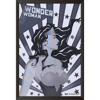 Hungover Wonder Woman Comic Artwork Special Paper Poster (12x18 inches) With Frame