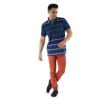 Mudo Beautiful Blue & Green Striper Polo Tshirt