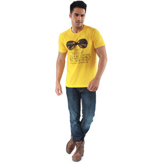 Mudo Marvelous Yellow Printed Round Neck Tshirt