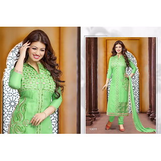 Parrot Green Cotton With Embroidery Designer Salwar suits Dress Meterial