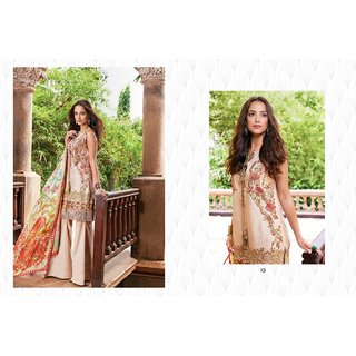 Golden Cream Lawn Printed With Embroidery Patch Designer Salwar suits Dress Meterial