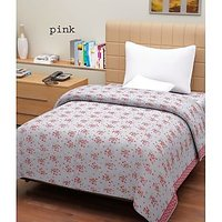 Hard Rock Pack Of 2 Single Bed Flower Design Top Sheet-pink