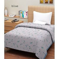 Hard Rock Pack Of 2 Single Bed Flower Design Top Sheet-blue