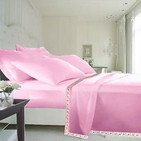 Hard Rock Pack Of 2 Single Bed Plain Design Top Sheet-pink