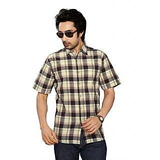 Moksh Beige Cotton Checkered Shirt