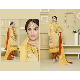 Yello and Brown Heavy Chanderi Long Chudidar Salwar Suit (Unstitched)