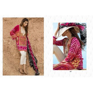Maroon and White Lawn Printed With Embroidery Patch Designer Salwar suits Dress Meterial (Unstitched)