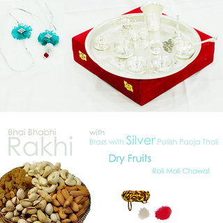 Silver polished pooja plate with  designer rakhi for brother, dryfruits and roli moli chawal