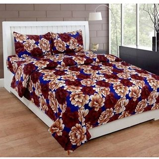 Home Diva Polycotton Multicolor 3D Printed Double  Bed Sheet With 2 Pillow Covers- (HDB018)