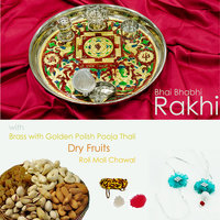 Rakhi Pair With Steel Decorative Thali & Dry Fruits