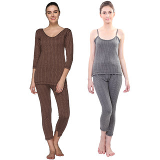 Vimal Multicolor Cotton Blended Thermal Top & Pyjama Set For Women (Pack Of 2)