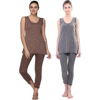 Vimal Multicolor Cotton Blended Thermal Top & Pyjama Set For Women (Pack Of 2)