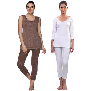 Vimal-Jonney Multicolor Cotton Blended Thermal Top & Pyjama Set For Women (Pack Of 2)