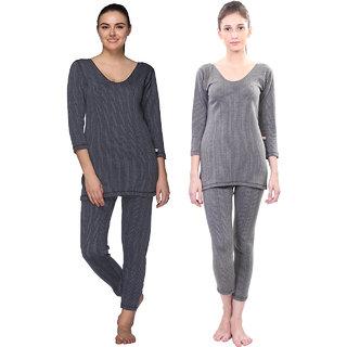 Vimal-Jonney Multicolor Cotton Blended Thermal Top & Pyjama Set For Women (Pack Of 2)