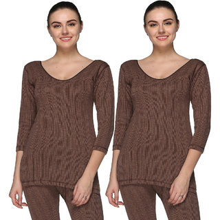 Vimal-Jonney Brown Cotton Blended Thermal Top For Women (Pack Of 2)