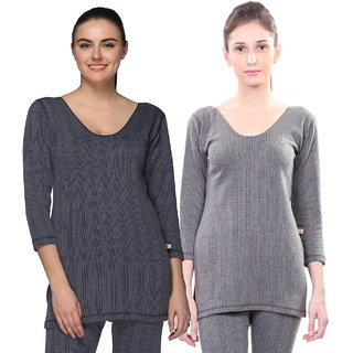 Vimal-Jonney Multicolor Cotton Blended Thermal Top For Women (Pack Of 2)