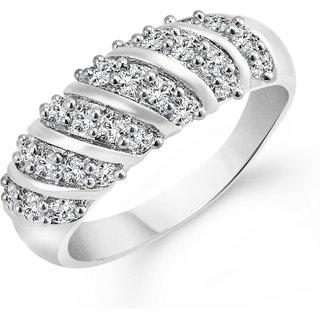 Vighnaharta White Curve Band (CZ) Rhodium Plated Alloy Ring for Girls and Women - 1025FRR VFJ1025FRR16