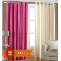 Hard Rock Set Of 1 Dark Pink & 1 Cream Plain Eyelet Door Curtain