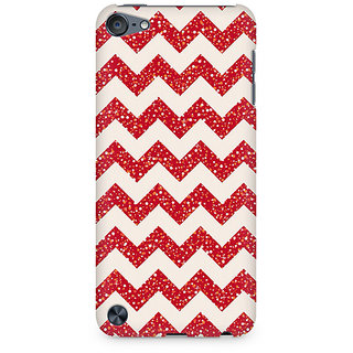 Zenith Red Glitter Chevron Premium Printed Mobile cover For Apple iPod Touch 6