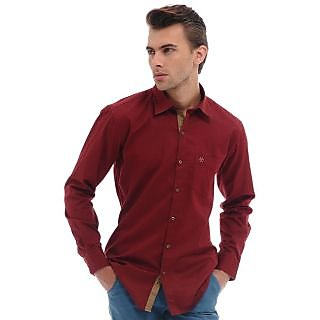 Cairon Jazzy Red Satin Solid Casual Shirt