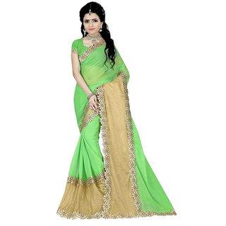 Karishma Green Chiffon Plain Saree With Blouse