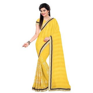 Karishma Yellow Georgette Embroidered Saree With Blouse