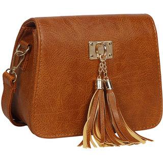 Bagkok Tan Self Design Casual Sling Bag